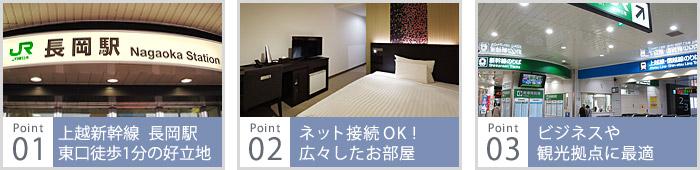 上越新幹線長岡駅東口より徒歩1分の好立地、ネット接続OK!広々したお部屋、ビジネスや観光拠点に最適